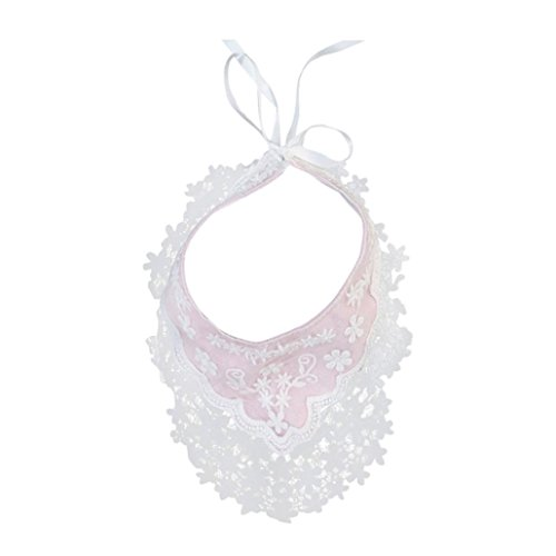 Iuhan Cotton Floral Lace Baby Newborn Infants Toddler Waterproof Bibs Saliva Towel (Pink) (Lace Newborn Bib)