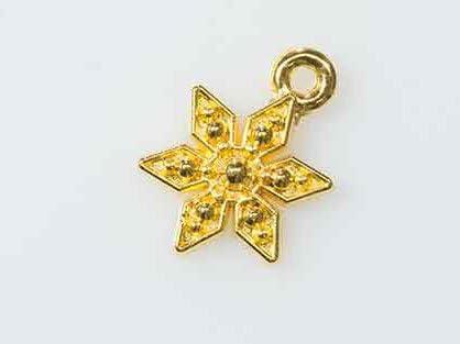 【クラフトパーツのチェロ N4.1 】 ゴールド 10個セット カワイイ 雪の結晶チャーム 長さ 16mmゴールド カラー