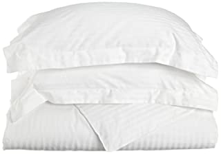 Superior 100% Premium Combed Cotton, Soft Single Ply Sateen, 3-Piece Duvet Cover Set, Stipe, Full/Queen - White (B005TP88MI) | Amazon price tracker / tracking, Amazon price history charts, Amazon price watches, Amazon price drop alerts