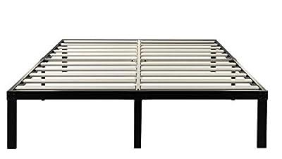 ZIYOO 14 Inch Wooden Slats Platform Bed Frame, 3500lbs Heavy Duty, Strengthen Support Mattress Foundation, Quiet Noise Free
