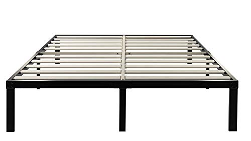 ZIYOO Bed Frame 16 Inch Metal Platform Bed with Wooden Slat Support,3500lbs Heavy Duty/Strengthen Support Mattress Foundation,Noise Free,Queen,Black