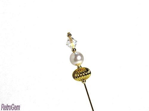 RetroGem Stylish 6-Inch Goldtone Hat Pin Made with Swarovski Elements Crystal Pearl (White)
