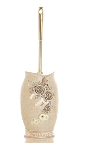 (Upstate Home Sharel Decorative Toilet Bowl Brush in Pearl Polyresin Hideaway Holder with Intricate 3D Roses)