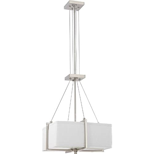 Nuvo Lighting 60 4506 Two Light Logan Square Pendant With Slate Gray Fabric Shade Frosted Diffuser Brushed Nickel