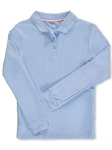 Nautica Little Girls School Uniform L/S Knit Polo with Picot Collar - Blue, 6X