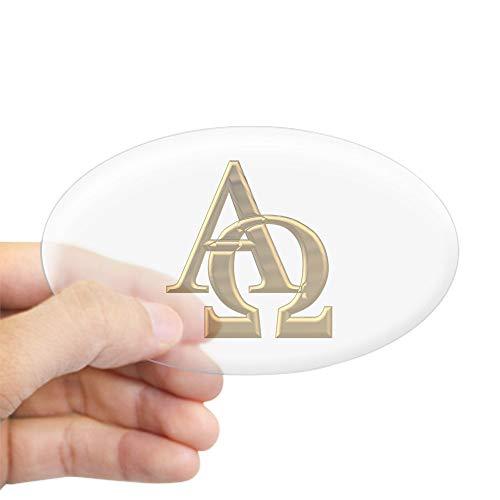 CafePress 3 D Golden Alpha and Omega Symbol Oval Bumper Sticker, Euro Oval Car Decal (Bumper Omega)