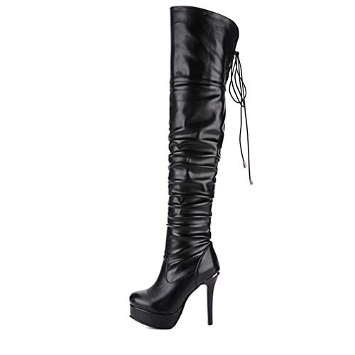 T-JULY New Women Fashion Thigh High Over The Knee Boots Ladies Sexy Platform High Heels Nightclub Party Shoes Black