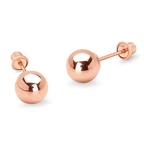 14k Rose Gold 6mm Plain Hollow Gold Ball Children Screw back Baby Girls Stud Earrings
