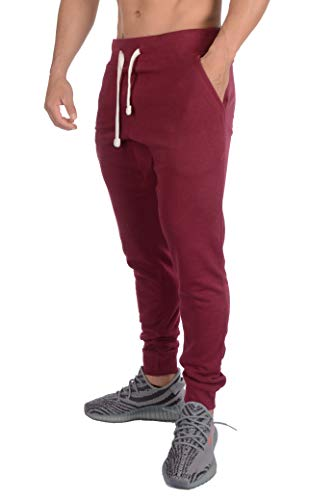 YoungLA Tapered Sweatpants Joggers for Men - Cotton Gym Training Workout Pants 206 Maroon ()