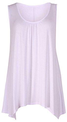 Purple Hanger - T-Shirt Femme Sans Manche Débardeur Extensible Encolure Ronde Froncé Dos Long Court Devant - FR 36-38, Blanc