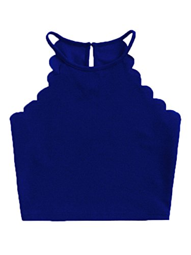 MAKEMECHIC Women's Solid Halter Neck Cami Scallop Trim Workout Crop Top Royal Blue L ()