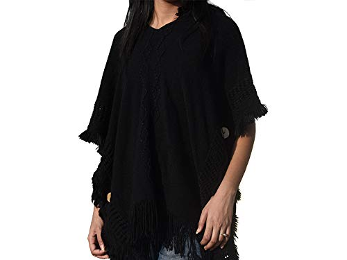 ac1608f27 Gehna By RTS Women s Tassel Sleeve Pullover Woolen Poncho Hooded Turkish  Sweater (Black