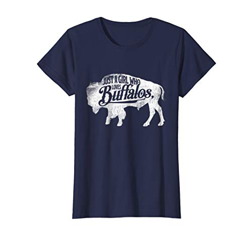 Womens Just A Girl Who Loves Buffaloes Buffalo TShirt Bison Lover Medium Navy (Buffalo Kids T-shirt)