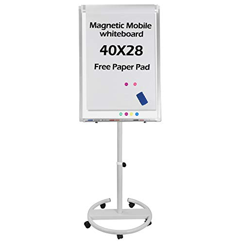 F2C 40 x 28 inches Mobile Magnetic Whiteboard Portable Dry Erase Board Height Adjustable Easel Board with Rolling Stand, w/Eraser, 3 Markers, Flipchart Paper Pad, 6 Magnets