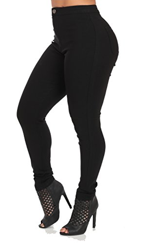 Sexy High Waisted Skinny Color Jeans, Black,10331A-Large