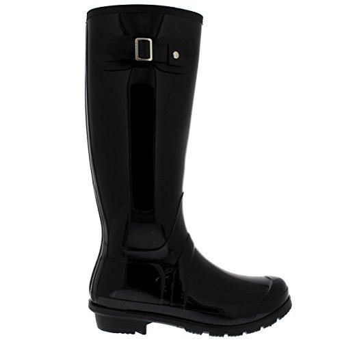 Original Impermeable De Botas Perro Nieve Brillo Alto Negro Hebilla Lluvia Caminando Mujer Goma Botas Side dYI7nvwx8