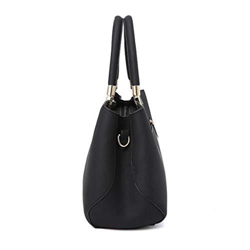 de 29x14x21cm Bolsos Gran de Bag Cuero Tote Capacidad Black Purple qdZvZ