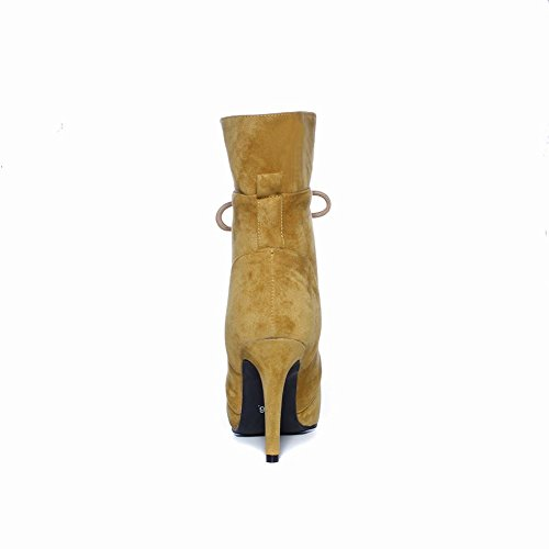 Womens High Yellow Carolbar Boots Toe Lace Up Pointed Sexy Heel Dress 7B1xFBq