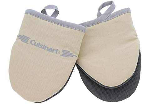 - Cuisinart Neoprene Mini Oven Mitts, 2 Pack - Heat Resistant Gloves to Protect Hands & Surfaces w/ Non-Slip Grip & Hanging Loop -Ideal Set for Handling Hot Cookware/Bakeware Items - Almond Milk