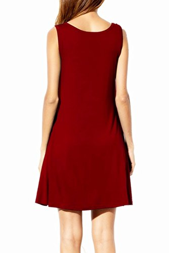 Casual Znystar Loose Manches shirts T Femme Rouge Sans avec Vin Robe Tops Poche wqRxqO6