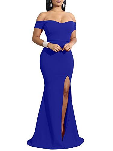 YMDUCH Women's Off Shoulder High Split Long Formal Party Dress Evening Gown Royal Blue