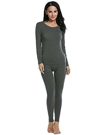 Ekouaer Pajama Set Women Crewneck Top & Bottom Thin Thermal Layer (Gray, Small)