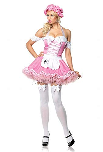 2PC. Classic Miss Muffet, off the shoulder halter dress and bonnet(PINK/YELLOW,SMALL)]()