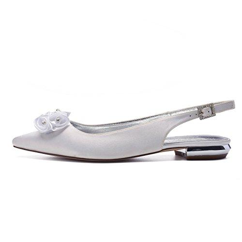 Satin MarHermoso Pointed Bridal White Slingback Wedding Women's Flats Shoes Lovely Toe Flowers HxwBw