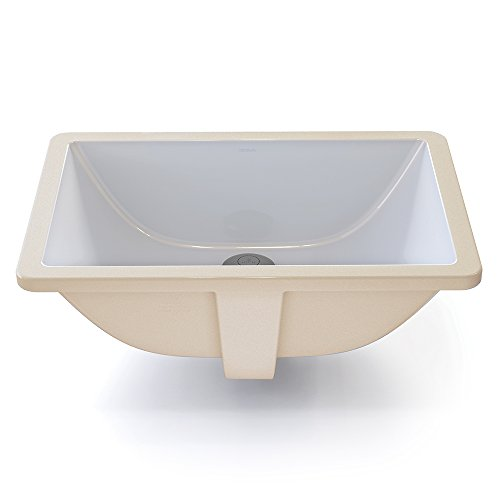 DECOLAV 1402-CWH Callensia Classically Redefined Rectangular Vitreous China Undermount Lavatory Sink with Overflow, White (Vitreous China White Rectangular Vessel Bathroom Sink)