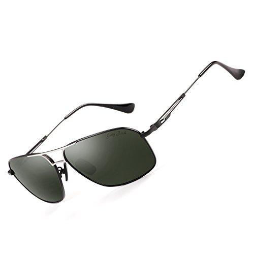 GREY JACK Polarized Large Classic Aviator Sunglasses Rectangular UV protection Lens for Men Women Black Frame Blackish green Lens -
