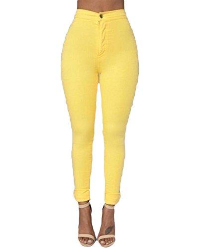 Mujer Cintura Alta Elásticos Pantalones Multicolor Pantalones De Lápiz Amarillo