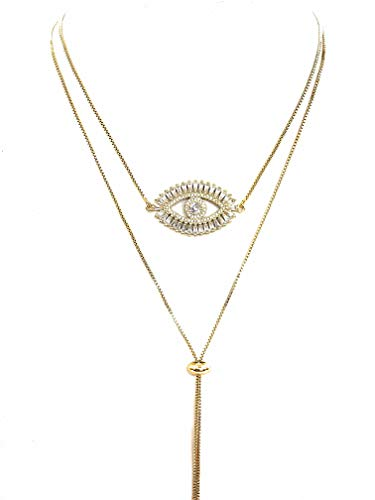 LESLIE BOULES Gold Evil Eye Lariat Necklace for Women 18K Gold Plated Sliding Adjustable Chain Choker Jewelry