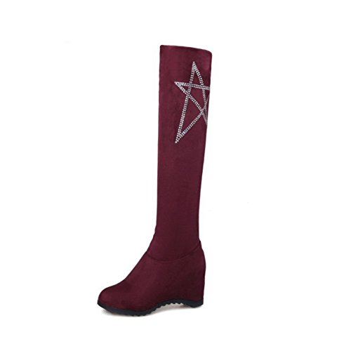 AgooLar Womens Round Closed Toe High-Top High-Heels Solid Imitated Suede Boots Claret HZPir855