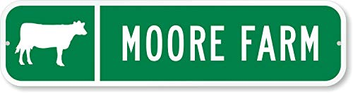 (SmartSign LCSSL-0005-G-COW-RA_24x6 Customize Your Own Street Sign with Cow Symbol by - 3M Authorized | 24