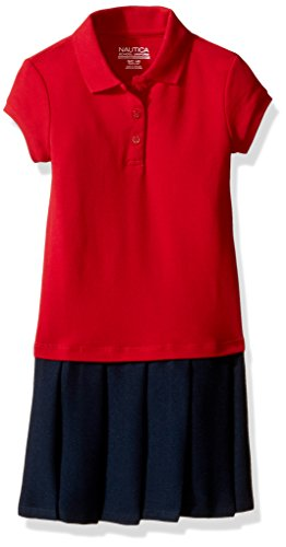 Red School Dress (Nautica Little Girls' Uniform Pique Polo Pleated Dress, Red, 6X)