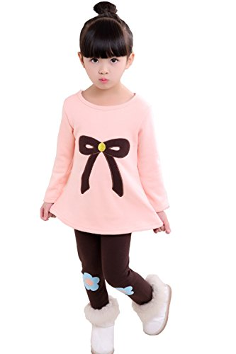 [Upopby Girls Outfits Clothes Cartoon Thick Velvet 2pcs Sweater Pants Sets Pink 140] (Cartoon Outfits)