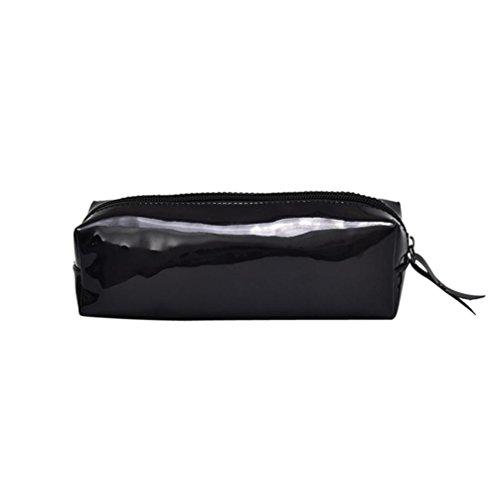 Federmäppchen, Voberry Unisex Mode Laser Reißverschluss Leder Handtasche Kosmetiktasche Make-up Bleistiftbeutel (Blau) Schwarz