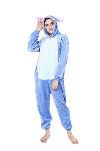 EONDEAR Stitch Onesie Unisex Adult Pajamas Cosplay Costume Animal Onesie Sleepwear Blue S -