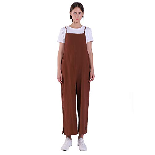 Women's Jumpsuits Casual Long Rompers Wide Leg Baggy Bibs Overalls Pants S-5XL (S, Coffee) ()