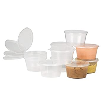 Plastic Condiment Cups with Attached Leak Resistant Lid, BPA Free, [50 Pack ] Clear Portion Container for Condiments, Samples, Dressings, & More! (1 oz) Culinware