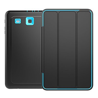 Samsung Galaxy Tab E 9.6 Case(T560NZ),Veggzy 3in1 Slim Heavy Duty Shockproof Armor Three Layer [Hard PC+Silicone]Hybrid High Impact Resistant Defender Protective Cover with Screen Protector