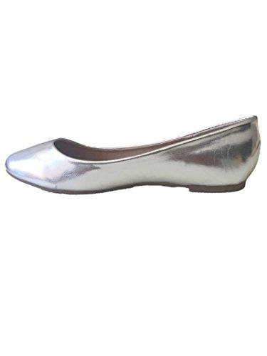 Schuhzoo - klassische Damen Ballerinas Lack Silber