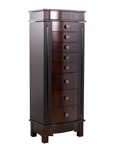 Walnut Armoire - Hives and Honey 8008-489 Shadow Jewelry Cabinet Armoire Front Storage Chest Stand Organizer, Dark Walnut
