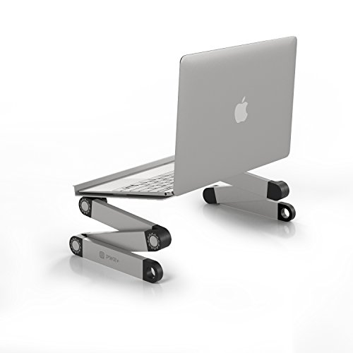 """Pwr+ Portable Laptop-Table-Desk Vented Fully Adjustable-Ergonomic-Multifunctional MacBook-Notebook-Silver Light Aluminum Bed-Tray-Book-Stand Fans - Up to 17"""""""
