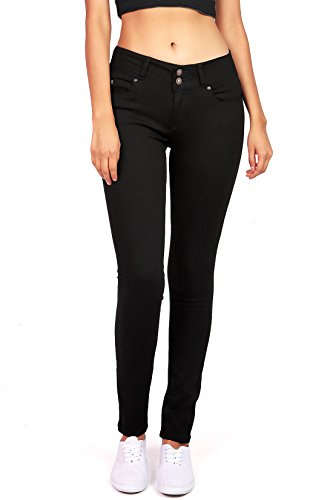 Wax Women's Juniors Stretchy Mid-Rise Skinny Jeans w Flattering Fit (7, Black)