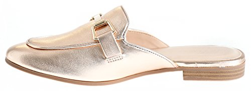 LUSTHAVE Frauen Gold Plated Slide On Slip auf Mule Loafer Wohnungen Schuhe Dunkle Penny Pu