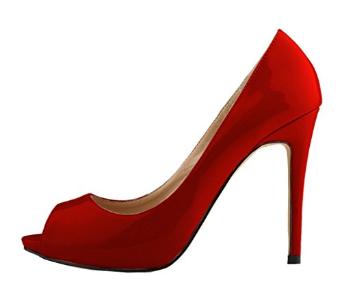 Women's Fashion Sexy Shallow Mouth Open Toe Slip On High Heeled Pumps Dress Shoes wine red patent pu