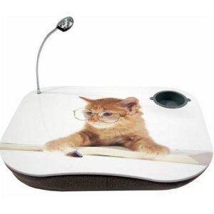 Tool-Genius - Cojín con bandeja para ordenador portátil (incluye soporte para bebidas y lámpara LED de 5 diodos), diseño de gato profesor: Amazon.es: ...