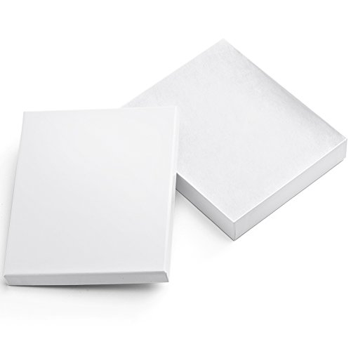 (MESHA Cardboard Paper Box for Jewelry and Gift 6x5x1 Inch Thick Paper Box With Cotton Lining, pack of 10 (white))