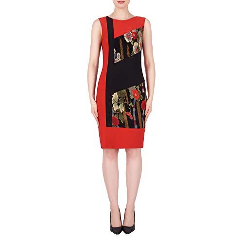 Joseph Ribkoff Lipstick Red Black Sleeveless Sheath Dress - Style 191765 Size 8